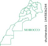 morocco green line map vector | Shutterstock .eps vector #1445836244