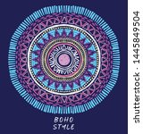 doodle colorful mandala with... | Shutterstock .eps vector #1445849504