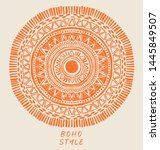 doodle mandala with sun sign in ... | Shutterstock .eps vector #1445849507