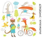 set of cartoon animals | Shutterstock .eps vector #144585629