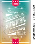 happy summer poster with a... | Shutterstock .eps vector #144587225