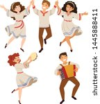 men and women dancing... | Shutterstock .eps vector #1445888411
