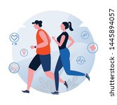 running. jogging. world health... | Shutterstock .eps vector #1445894057