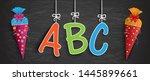 blackboard with hanging letters ... | Shutterstock .eps vector #1445899661