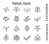 sprout icon set in thin line... | Shutterstock .eps vector #1445900804