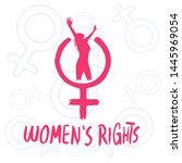 women's rights. iconic symbol... | Shutterstock .eps vector #1445969054
