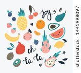 summer set with hand drawn... | Shutterstock .eps vector #1445998097