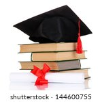 grad hat with diploma and books ...   Shutterstock . vector #144600755
