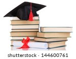 grad hat with diploma and books ... | Shutterstock . vector #144600761