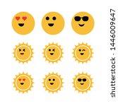Set Sun Emoticon Summer Vector...