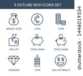 9 rich icons. trendy rich icons ... | Shutterstock .eps vector #1446019334