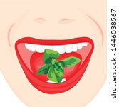 mint leaves in a mouth. oral... | Shutterstock .eps vector #1446038567