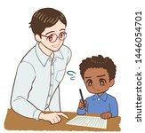 teacher teaching a child who is ... | Shutterstock . vector #1446054701