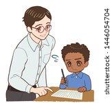 teacher teaching a child who is ... | Shutterstock . vector #1446054704