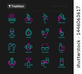 triathlon thin line icons set ... | Shutterstock .eps vector #1446063617