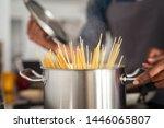 Closeup Of Spaghetti In Pot On...