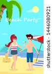 happy family at beach party.... | Shutterstock .eps vector #1446080921