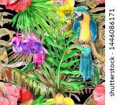 hawaiian tropical jungle... | Shutterstock . vector #1446086171