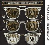 vector set of vintage glasses. | Shutterstock .eps vector #144611411