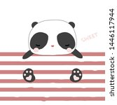 cute little panda and pink... | Shutterstock .eps vector #1446117944