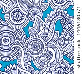 floral seamless pattern. doodle ... | Shutterstock .eps vector #1446130571
