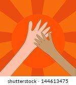 help hand charity or hi five on ... | Shutterstock .eps vector #144613475