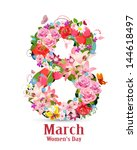 greeting card with march 8 | Shutterstock .eps vector #144618497