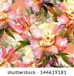 pink peonies seamless pattern | Shutterstock . vector #144619181