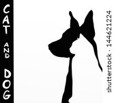 Stock photo background with cat and dog silhouette 144621224