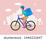 delivery by bicycle. vector... | Shutterstock .eps vector #1446222647