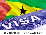 Sao Tome and Principe Visa in the passport, 3D rendering. Closeup Visa to The Sao Tome and Principe focusing on the word VISA. Travel Sao Tome and Principe visa in passport close-up. Sao Tome and