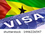 Sao Tome and Principe visa document close up, 3D rendering. Passport visa on Sao Tome and Principe flag. Sao Tome and Principe visitor visa in passport. Sao Tome and Principe multi entrance visa in