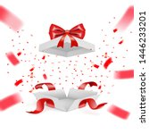 realistic surprise gift box... | Shutterstock .eps vector #1446233201