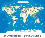 animals world landmarks map for ... | Shutterstock . vector #1446291851