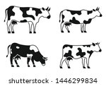 cow animal icons set. simple... | Shutterstock .eps vector #1446299834