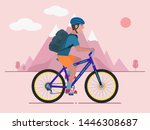 man rides a bicycle with a... | Shutterstock .eps vector #1446308687