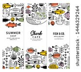 sealife fun banner collection.... | Shutterstock .eps vector #1446329264
