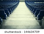 blue stadium seats in a rear... | Shutterstock . vector #144634709