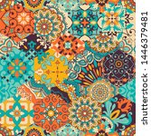 seamless colorful patchwork... | Shutterstock .eps vector #1446379481