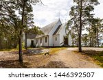 The chapel in Sandhamn out in the Stockholm archipelago in the middle of a pine forest.
