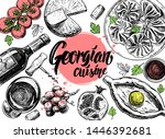 hand drawn georgian food menu... | Shutterstock .eps vector #1446392681