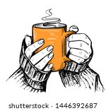 women's hands in a sweater hold ... | Shutterstock .eps vector #1446392687