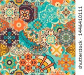 seamless colorful patchwork... | Shutterstock .eps vector #1446410111