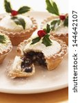 Decorated Mince Pies On Plate...
