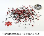 Pile of nuts and bolts from disassembled clutch isolated on white - stock photo