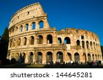 front view of colosseum rome in ... | Shutterstock . vector #144645281