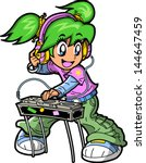Smiling Anime Manga Club DJ Rocking the Turntables