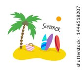 summer seascape with palm trees ... | Shutterstock .eps vector #1446518207