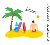 summer seascape with man and... | Shutterstock .eps vector #1446519224