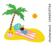 summer seascape with palm tree... | Shutterstock .eps vector #1446519764